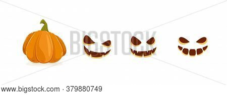 Set Of Pumpkin Smiles Isolated On White Background. Set Of Halloween Elements. Scary Illustration Ca