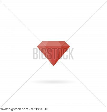 Red Diamond Icon Vector In Trendy Flat Style. Expensive Stone Symbol Illustration