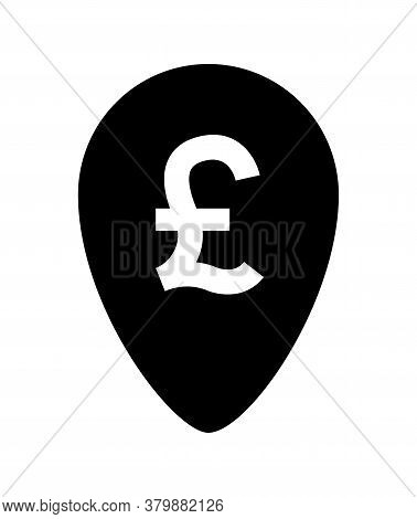 Pound Currency Symbol In Pin Point For Icon Isolated On White, Pound Money For App Symbol, Currency
