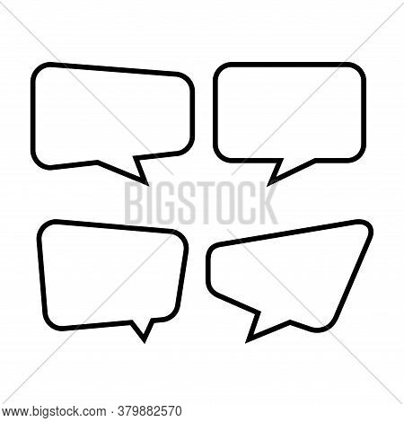 Speech Bubble Isolated On White, Speech Balloon Square Sign For Communication Symbol, Line Speech Bu