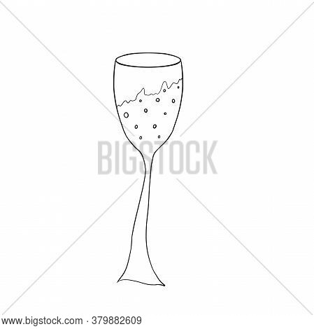 Glass Of Champagne Isolated On White. Pencil Drawing. Celebration, New Year, Holiday Concept. Mug, P