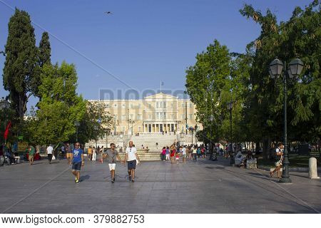 Athens, Greece - August 12 2016: Syntagma Square In Athens With The Hellemic Parliament Building In