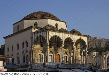 Athens, Greece - August 12 2016: Tzistarakis Mosque In Monastiraki Square In Athens, Greece