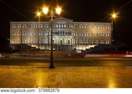 Athens, Greece - August 12 2016: Hellenic House Of Parliament In Athens At Night