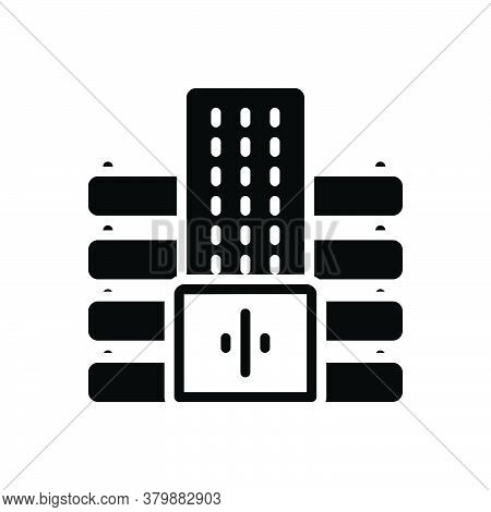 Black Solid Icon For Company Apartment Architecture Building Department Residence Office Corporate E
