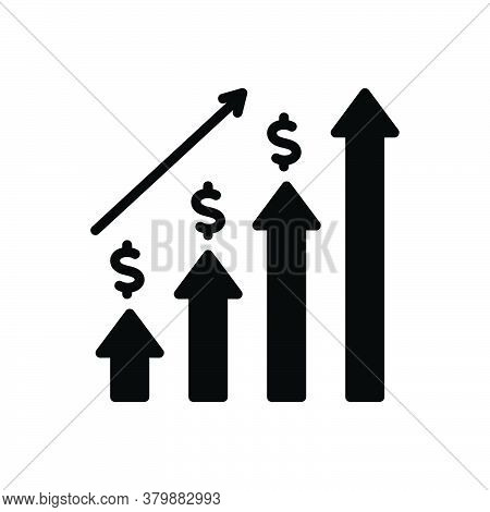 Black Solid Icon For Economic-investment Graph Progress Budgetary Monetary Commercial Fiscal Venture
