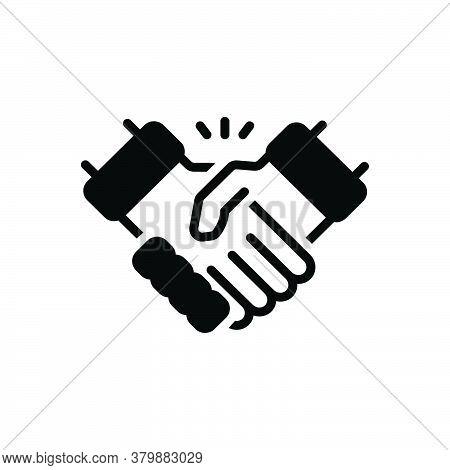 Black Solid Icon For Handshake Disagreement Partnership Collaboration Complicity Copartnership Teamw