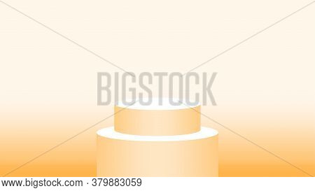 3d Pedestal Cylinder Circle Soft Orange For Cosmetics Showcase, Podium Circle Stage Orange Pastel So