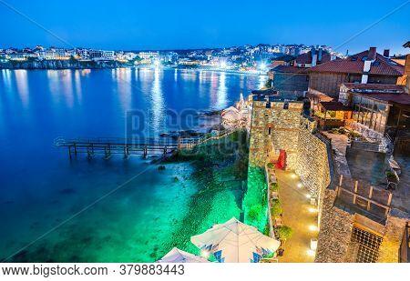 Sozopol, Bulgaria. Idyllic Ancient Walls Of Apollonia And Black Sea Seaside.