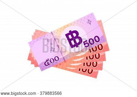 900 Baht Thai Banknote Money, Thai Currency Nine Hundred Thb Concept, Paper Money Isolated On White