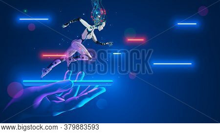 Ai Robot Cyborg Running On Screen Smartphone In Hand. Cybernetic Girl Accelerates In Cyberspace. Art