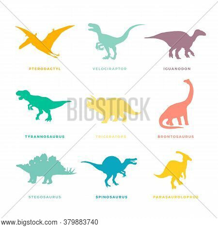 Prehistoric Dinosaurs Signs, Symbols Or Illustrations Set. Colorful Vector Ancient Reptiles Silhoutt