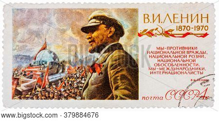 Ussr - Circa 1970: Stamp Printed In The Russia Soviet Union Shows Vladimir Ilyich Lenin Was A Russia