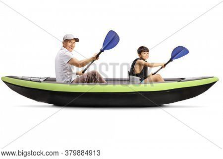 Grandfather and grandson paddling in a canoe isolated on white background