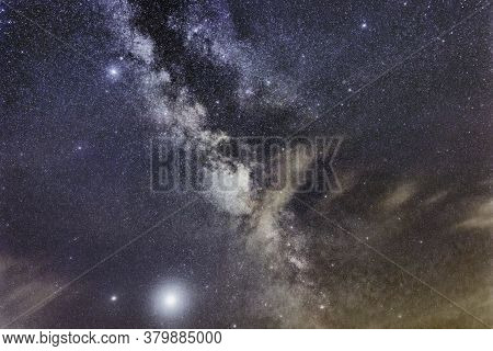 Milky Way Galaxy, Clouds And Space Dust In The Universe, Jupiter And Saturn