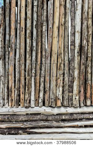Wooden Wall From Old Logs