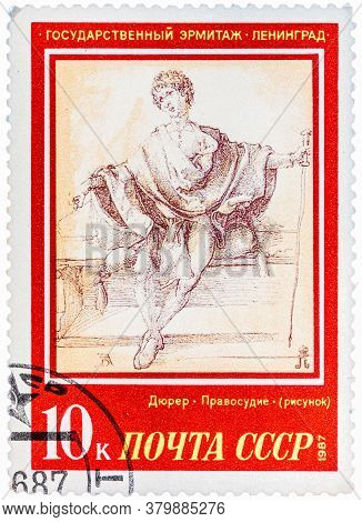 Ussr - Circa 1987: A Stamp Printed In The Ussr, Shows A Painting Artist Albrecht Durer Justice , Cir