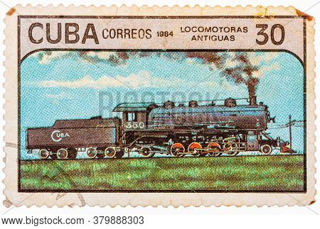 Cuba - Circa 1984: Postage Stamps Printed In Cuba Shows Trains And Locomotives, Series, Circa 1984