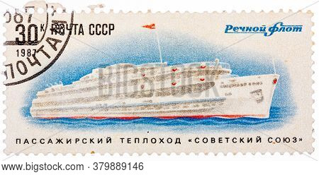 Ussr - Circa 1987: A Stamp Printed In Ussr Shows The Passenger Ship Soviet Union , Circa 1987