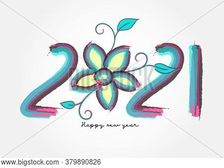 2021 Lettering Colorful Vector For Calendar, Greeting Card, Banner, Cover, Poster, Web Page. 2021 Ha