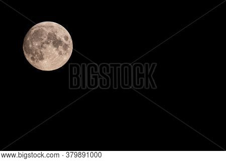 Beautiful Full Moon Of August, August's Sturgeon Supermoon In A Summer Night. Moon Above, On The Lef