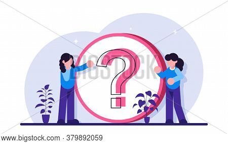 Faq. Frequently Asked Questions. Technical Support Workers. Women Stand Near A Large Question Mark.