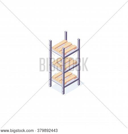 Isometric Warehouse Equipment Rack Pallets And Shelf. 3d Pallets Racking Shelving And Stacking Vecto