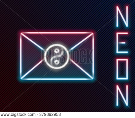 Glowing Neon Line Yin Yang And Envelope Icon Isolated On Black Background. Symbol Of Harmony And Bal