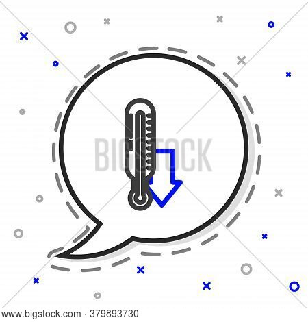 Line Meteorology Thermometer Measuring Icon Isolated On White Background. Thermometer Equipment Show