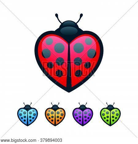 Heart Shaped Ladybugs On White Background. Colorful Bugs Icon Set.