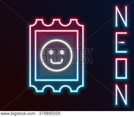 Glowing Neon Line Lsd Acid Mark Icon Isolated On Black Background. Acid Narcotic. Postmark. Postage