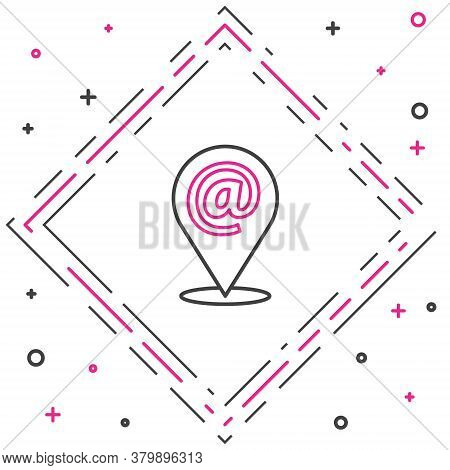 Line Location And Mail And E-mail Icon Isolated On White Background. Envelope Symbol E-mail. Email M