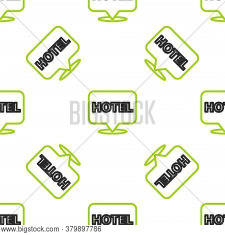 Line Location Hotel Icon Isolated Seamless Pattern On White Background. Concept Symbol For Hotel, Ho