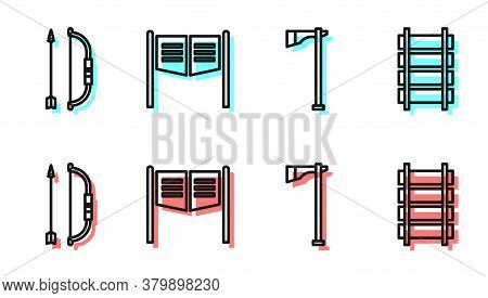 Set Line Tomahawk Axe, Bow And Arrow In Quiver, Saloon Door And Railway, Railroad Track Icon. Vector