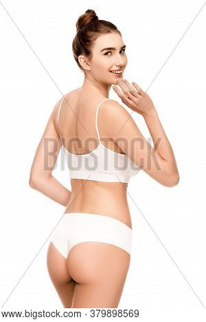 With Perfect Body In Panties And Top Standing And Touching Face Isolated On White