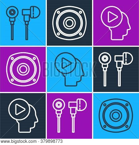 Set Line Air Headphones, Head People With Play Button And Stereo Speaker Icon. Vector