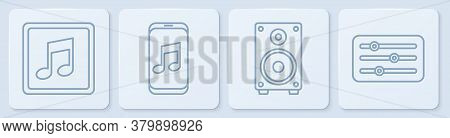 Set Line Music Note, Tone, Stereo Speaker, Music Player And Sound Mixer Controller. White Square But