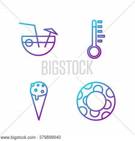 Set Line Rubber Swimming Ring, Ice Cream In Waffle Cone, Coconut Cocktail And Meteorology Thermomete