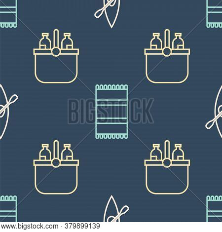Set Line Kayak Or Canoe And Paddle, Cooler Bag And Water And Beach Towel On Seamless Pattern. Vector