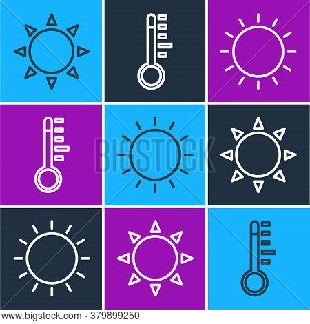 Set Line Sun, Sun And Meteorology Thermometer Icon. Vector
