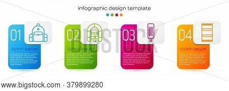Set Line Hiking Backpack, Rafting Boat, Ice Cream And Beach Towel. Business Infographic Template. Ve