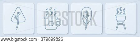 Set Line Leaf Or Leaves, Leaf Or Leaves, Cup Of Tea And Barbecue Grill. White Square Button. Vector