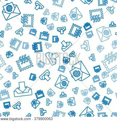 Set Line Download Inbox, Mail And E-mail And Postal Stamp On Seamless Pattern. Vector