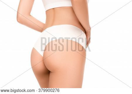 View Of Woman With Perfect Body In Panties Standing Isolated On White