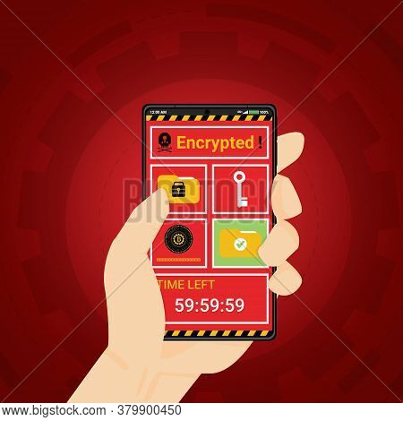 Cell Phone Infected By Malware Ransomware Wannacry Or Maze Virus. Cyber Attack Concept. Hacker Encry