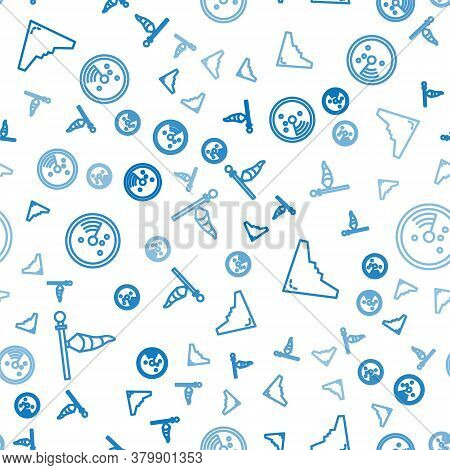 Set Line Cone Meteorology Windsock Wind Vane, Jet Fighter And Radar With Targets On Monitor On Seaml