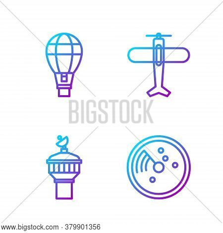 Set Line Radar With Targets On Monitor, Radar, Hot Air Balloon And Plane. Gradient Color Icons. Vect