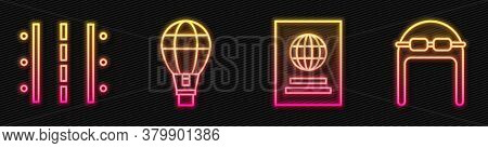 Set Line Passport, Airport Runway, Hot Air Balloon And Aviator Hat With Goggles. Glowing Neon Icon.