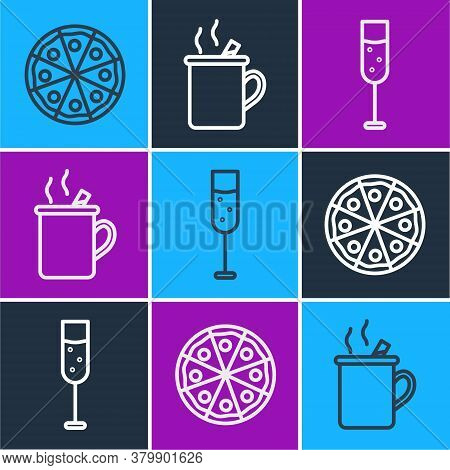 Set Line Pizza, Glass Of Champagne And Mulled Wine Icon. Vector