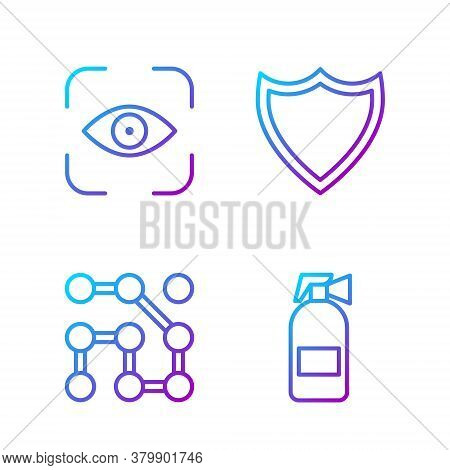 Set Line Fire Extinguisher, Graphic Password Protection, Eye Scan And Shield. Gradient Color Icons.